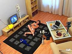 Webcam yoga and masturbation on the floor