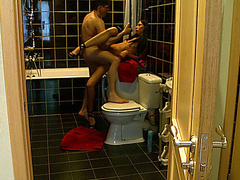 Amateur gf sucks and fucks rod in toilet