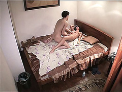 Girl saddling man on homemade video