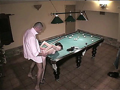 Amateur couple fucks instead playing pool