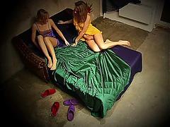 Cute lesbians lose off cloths for love