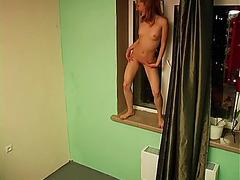 Skinny blonde horny voyeur nude dance