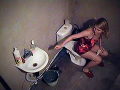 Toilet spy cam shot babe before sleep