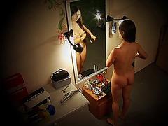 Spy cam girl creaming her full titties
